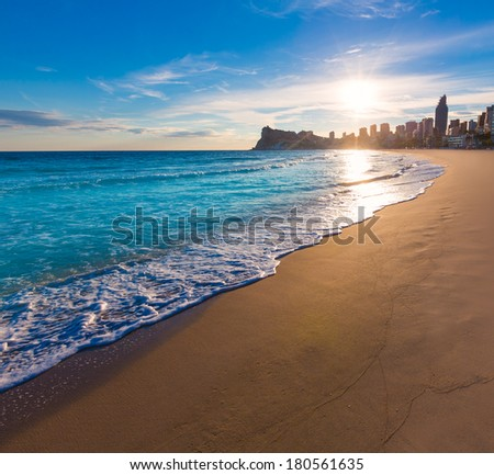Benidorm Alicante playa de Poniente beach sunset in spain Valencian community - stock photo