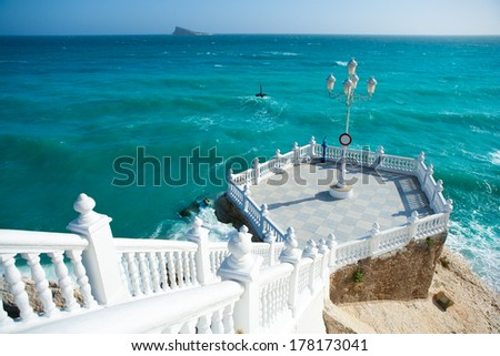 Benidorm balcon del Mediterraneo and sea from white balustrade Alicante Spain - stock photo