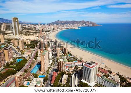 Benidorm beach aerial skyline in Alicante Mediterranean of Spain - stock photo