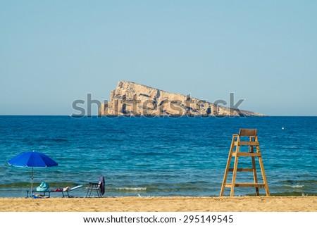 Benidorm beach and island on a sunny summer day - stock photo