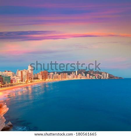 Benidorm sunset Alicante playa de Levante beach in spain Valencian community - stock photo