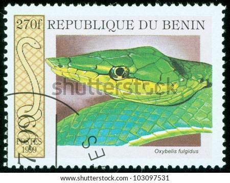 BENIN - CIRCA 1999: A stamp printed in Benin showing a snake, circa 1999 - stock photo
