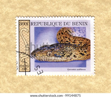 BENIN - CIRCA 1999: A stamp printed in Benin showing types of snakes, circa 1999 - stock photo