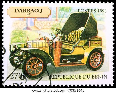 BENIN - CIRCA 1998: A stamp printed in Benin showing vintage car, circa 1998 - stock photo