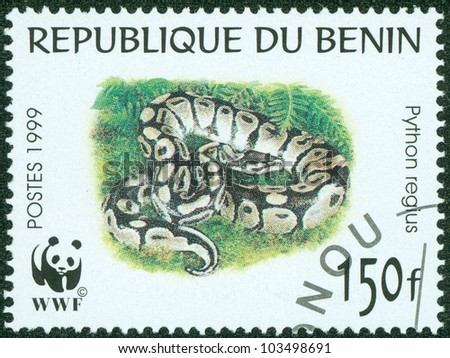 BENIN - CIRCA 1999: A Stamp printed in BENIN shows the image of a snake, circa 1999 - stock photo
