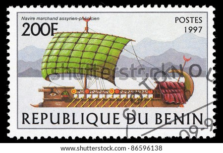 BENIN - CIRCA 1997: A stamp printed in Republique du Benin shows image of a sailing ship, circa 1997