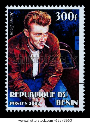 BENIN REPUBLIC - CIRCA 2002: A postage stamp printed in the Benin Republic showing James Dean, circa 2002 - stock photo