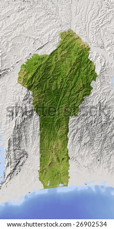 Benin. Shaded relief map. Surrounding territory greyed out. Colored according to vegetation. Includes clip path for the state area.
