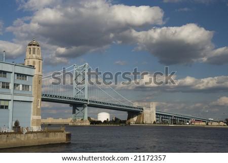 Benjamin Franklin Bridge As Seen From Penns Landing In Philadelphia - stock photo