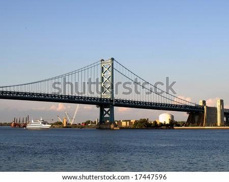 Benjamin Franklin bridge between Philadelphia Pennsylvania and Camden New Jersey across the Delaware River - stock photo