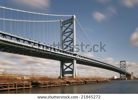 Benjamin Franklin Bridge in Philadelphia, PA - stock photo