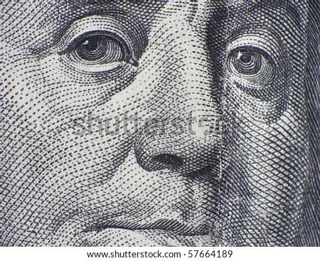 Benjamin Franklin closeup - stock photo