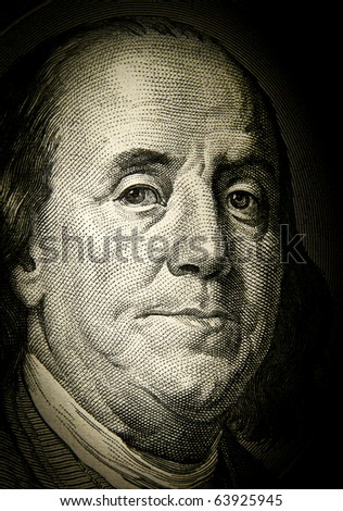 Benjamin Franklin. Detail of the U.S. dollar - stock photo