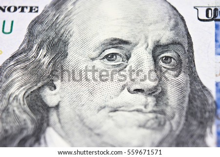 Benjamin Franklin face on us 100 dollar bill extreme macro, united states money closeup