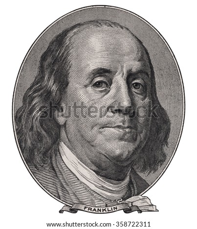 Benjamin Franklin face on us one hundred dollar bill macro isolated, united states money closeup - stock photo