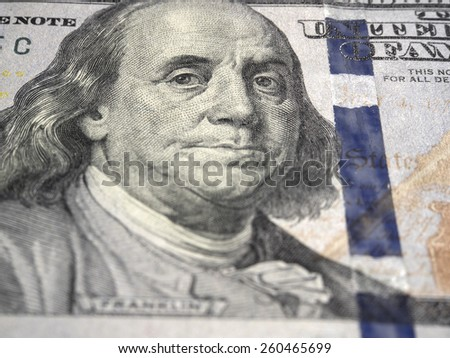 Benjamin Franklin from hundred dollars bill - stock photo
