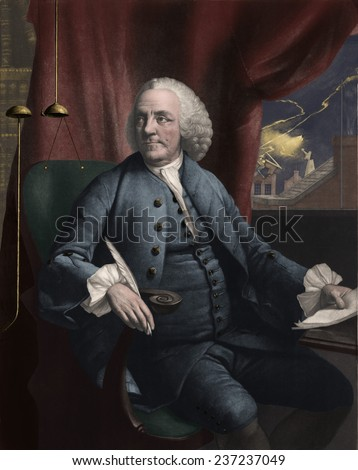 Benjamin Franklin 1706- 1790 in his study as lightning strikes outside the window, Mezzotint by Edward Fisher after a 1762 portrait by Mason Chamberlin with modern digital color. - stock photo