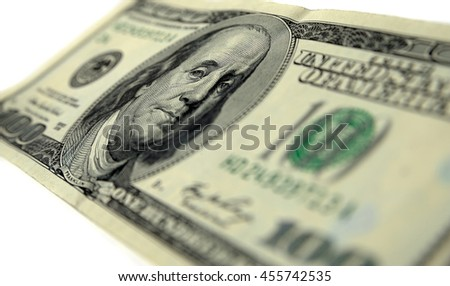 Benjamin Franklin on hundred dollar banknote / Currency, Close-up, Benjamin Franklin, USA, Paper Currency - stock photo
