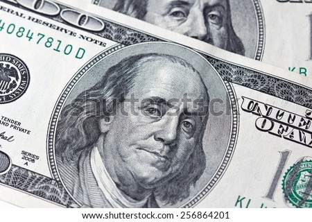 Benjamin Franklin on one hundred dollar bill - stock photo