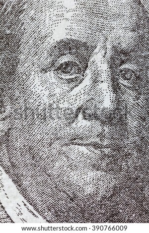 Benjamin Franklin on one hundred dollar bill. Macro background - stock photo