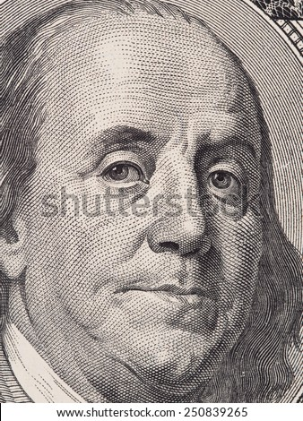 Benjamin  Franklin portrait closeup macro on the US 100 dollar bill, united states money - stock photo