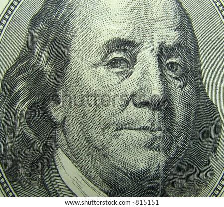 Benjamin Franklin portrait. 100 dollar bill. - stock photo