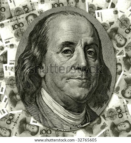Benjamin Franklin portrait from 100 dollars banknote  on China Yuan background
