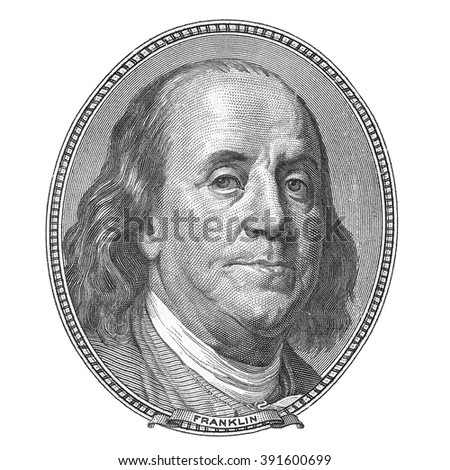 Benjamin Franklin. Qualitative portrait from 100 dollars banknote. - stock photo