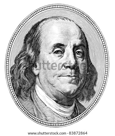 Benjamin Franklin. Qualitative portrait from 100 dollars banknote - stock photo