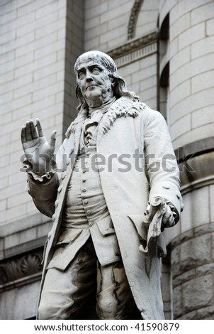 Benjamin Franklin Statue - stock photo