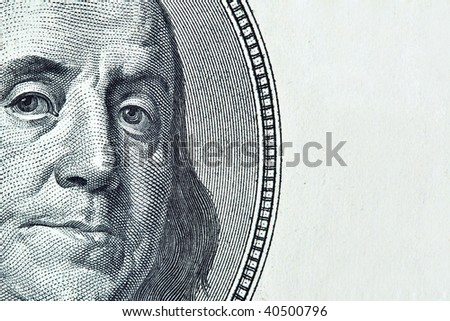 Benjamin Franklin with space for text on right - stock photo