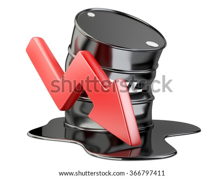 Bent barrel, spilled oil and chart arrow down. financial crisis. isolated on a white background 3d image.