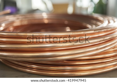 bent copper pipes close up