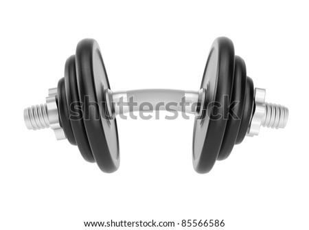 Bent dumbbell isolated on white background. Clipping path included. Computer generated image.