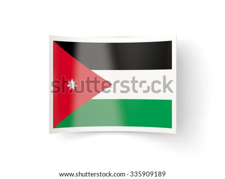 Bent icon with flag of jordan isolated on white - stock photo