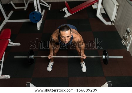Bent Over Barbell Row - stock photo