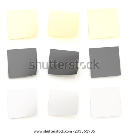 Bent sticker paper notes with the shadows and reflections over the white surface, set of three color versions and foreshortenings - stock photo