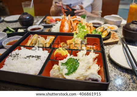 Bento japanese food in restaurant - stock photo