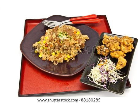 Bento, Japanese food style , fried chicken and fried rice on white ...