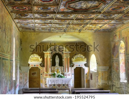BERAM, CROATIA - MAY 6: Cemetery chapel of Our Lady of the Rocks (S. Maria na Skriljinah) on May 6, 2014. The church famous for its frescoes by master Vincent of Kastav made in 1474 yer. - stock photo