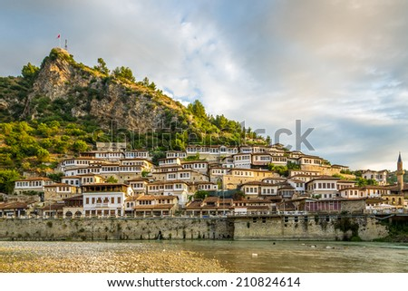 BERAT,ALBANIA - JULY 30,2014 - In the streets of Berat.Berat lies on the right bank of the river Osum. It has a wealth of beautiful buildings of high architectural and historical interest.