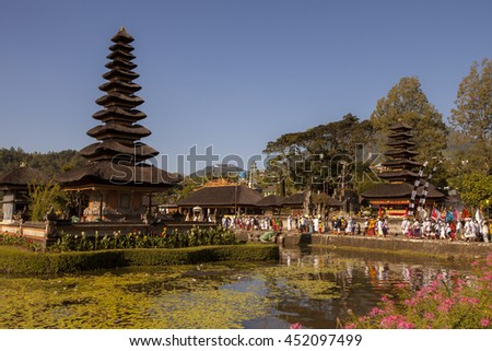 Beratan Lake in Bali Indonesia, 2014 March 29 : Ceremony Melasti before Balinese New Year and silence day Nyepi. Holidays, festivals, culture of Indonesian people and Bali island. - stock photo