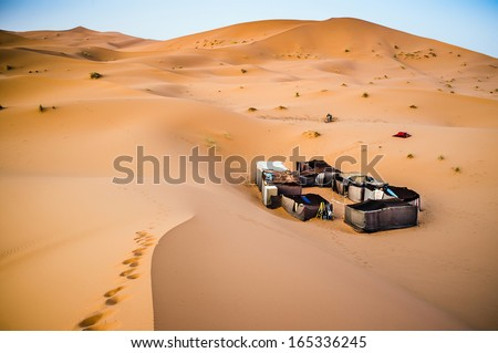 Berber camp in the Sahara desert, Morocco - stock photo
