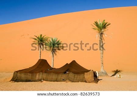 Berber camp in the Sahara desert, Morocco - stock photo