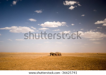 Berbers house at the border of Sahara, Morocco - stock photo