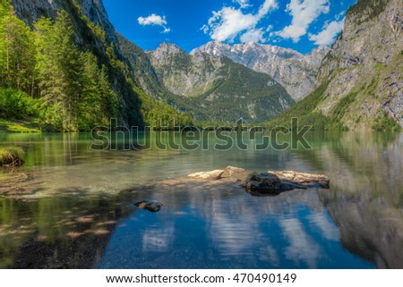Berchtesgadener Land (GER) - The Obersee is a lake in Nationalpark Berchtesgaden. To get there, you have to take a passenger boat to cross the Königssee. From there you have a nice view over the lake.