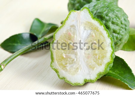 Bergamot (Also known as Kaffir lime, Citrus lime, Citrus bergamia, Citrus, Bergamot, Magnoliophyta Rutaceae) fruits with leaf