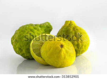 Bergamot fruit on gray background