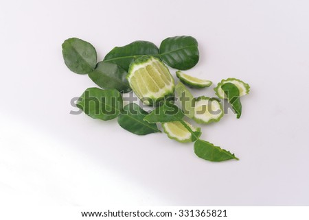 bergamot,Herbal Treatment or Cooking Grown in Thailand,Background isolated - stock photo