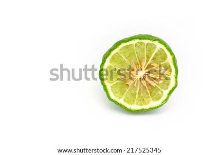 Bergamot (Kaffir lime) Isolated on white background - stock photo